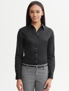 BR black non-iron fitted button down