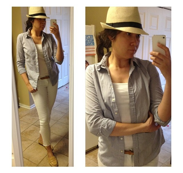 hat: Charlotte Russe // button down, tank (maternity!): Gap // jeans: Old Navy // belt, loafers: Banana Republic