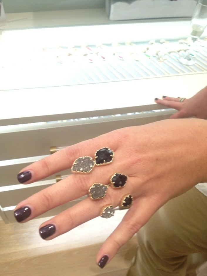 a customer tries to decide which of these hot new ring sets to buy at Kendra Scott!